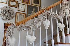 Valentine craft.  Valentine decorating.  Heart garland and canvas rag wreath tutorial.  Also, a gallery wall.