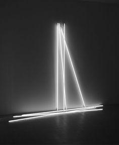 Signed MP White neon tubes parts) x feet x 400 cm) Myster Poster , Laleh June Galerie, Basel, 2013 Linear Lighting, Neon Lighting, Modern Art, Contemporary Art, Light And Space, Light Painting, Light Art, Installation Art, Light Effect