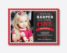 Ladybug first Birthday Invitation DIY  PRINTABLE Photo by CupcakeExpress | Etsy