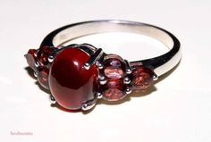 Genuine natural hessonite garnet and by RetroRecyclables on Etsy, $48.00