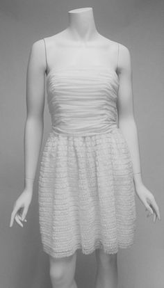 Jill Stuart White Strapless Applique Bottom Tie Back Knee Length Dress Sz 8 NWOT #JillStuart #PartyDress