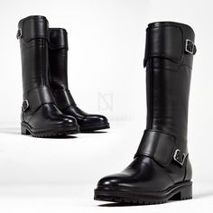 Shoes - Cowhide high double buckle strap long boots - 436 for only ! Waterproof Motorcycle Boots, Motorcycle Gear, Mens Long Boots, Tall Boots, Shoe Boots, Custom Made Shoes, Mens Boots Fashion, Rock Chic, Pop Punk