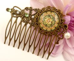 Elegant hair comb in bronze with green floral pattern and genuine pearl - pinned by pin4etsy.com
