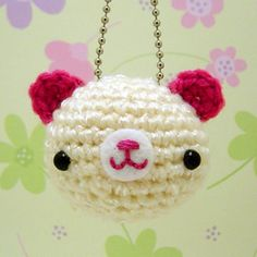 Amigurumi cream and pink teddy bear keychain by Amigurumi Kingdom, via Flickr