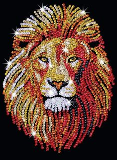 The Lion design is part of our Sequin Art Blue range. This brave, ferocious yet beautiful animal glistens in sequins. The fiery colours of red, gold and bronze spread across his sleek face and large shaggy mane, creating a bold powerful project. Button Art, Button Crafts, Hobbies And Crafts, Arts And Crafts, Lion Craft, Sequin Crafts, Lion Design, Rhinestone Art, Dot Art Painting