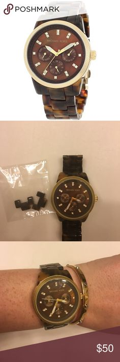 Michael Kors Watch Women's Chronograph Ritz Acrylic Tortoiseshell Bracelet Watch 38mm MK5038. Wonderful condition with extra links. Needs a new battery. Michael Kors Accessories Watches