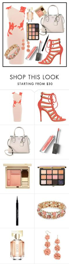 """""""Untitled #257"""" by kaira54321 ❤ liked on Polyvore featuring Karen Millen, Elisabetta Franchi, Kate Spade, Burberry, Clarins, Givenchy, Design Lab, HUGO and BaubleBar"""
