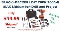 HURRY! Start your Christmas shopping now! You don't want to miss this deal! Get a Black+Decker Drill Kit for only $59.99 (was $79.99)!Even get FREE shipping!  Click the link below to get all of the details ► http://www.thecouponingcouple.com/blackdecker-max-lithium-ion-drill-kit-59-99-shipped/ #Coupons #Couponing #CouponCommunity  Visit us at http://www.thecouponingcouple.com for more great posts!
