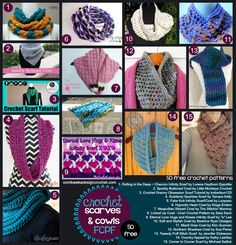 FCPF 50 Free Crochet Patterns for Scarves & Cowls!  ✿⊱╮Teresa Restegui http://www.pinterest.com/teretegui/✿⊱╮