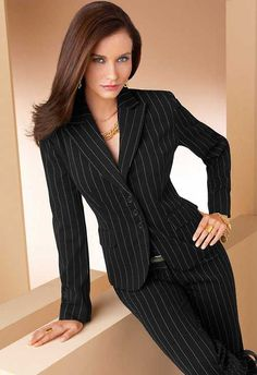 Women's Pinstripe Business Suit. Dress for success for work or the interview.
