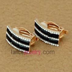Sparking black crystal & nice rhinestone decoration stud earrings