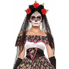 Day of the Dead Black Costume Veil One Size