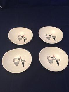 4 Metlox Poppytrail Contempora sauce bowls atomic abstract MCM vtg set #MetloxPoppytrail
