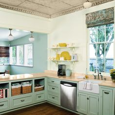 Gorgeous tin ceiling | How to have open shelving in your kitchen (without daily staging ...