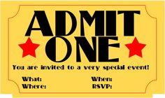 Printable Concert Ticket Invitations