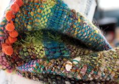 Learn how to weave hand spun art yarn and hand dyed yarn int beautiful one of a kind fiber art scarves.