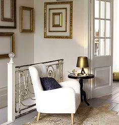 White & gold - Metallic cowhide rug - Old iron banister and railing with beautiful aged appearance