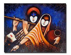 Buy Radha Krishan Painting at Lowest Price by Harpreet Kaur Simple Canvas Paintings, Modern Art Paintings, Diy Canvas Art, Acrylic Painting Canvas, Canvas Draw, Awesome Paintings, Pichwai Paintings, Painting Tips, Abstract Paintings