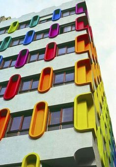 Colourful Architecture Greeting Card By Damian Furlong & bunte architektur-gruß-karte durch damian furlong Colourful Architecture Greeting Card By Damian Furlong & Colourful Buildings, Unique Buildings, Interesting Buildings, Amazing Buildings, Colour Architecture, Facade Architecture, Beautiful Architecture, Contemporary Architecture, Installation Architecture