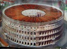 Reconstruction of the Coliseum with a fabric 'roof' or sunshade