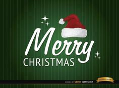 Frohe Weihnachten Grußkarte mit Weihnachtsmütze
