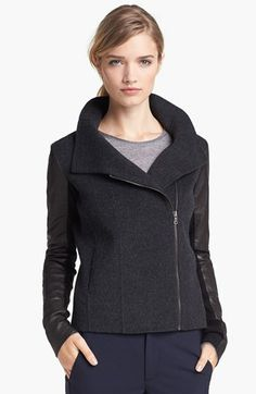 Vince Funnel Neck Jacket with Leather Sleeves available at #Nordstrom