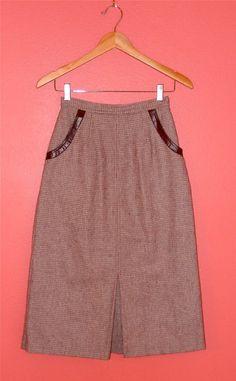 Vintage Skirt 70s Tweed Houndstooth Midi by PinkCheetahVintage, $24.89