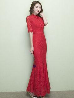 Red Lace Mermaid Qipao / Cheongsam Wedding Dress