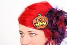 Jack O Lantern Hair Clip, Pumpkin, Halloween Barrette, Orange and Yellow