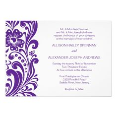 Block Print Floral Swirl Wedding Invitation Purple