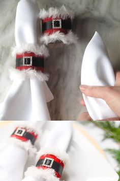 Santa Claus Napkin Ring Make these darling DIY Christmas napkin rings that look like Santa Claus' suit for your Christmas table setting this year. All you need is a ribbon buckle, ribbon, felt, and some furry yarn. Diy Christmas Napkins, Christmas Napkin Rings, Easy Christmas Crafts, Gold Christmas, Christmas Projects, Simple Christmas, Christmas Holidays, Christmas Ornaments, Homemade Christmas