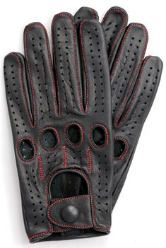 Riparo Women's Unlined Leather Driving and Riding Gloves (8, Black/Red Thread)