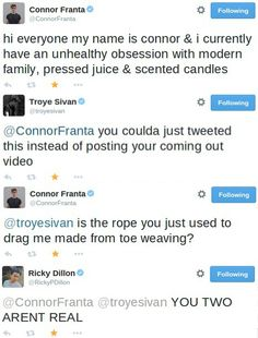 Troye Sivan, Connor Franta and Ricky Dillion tweets.