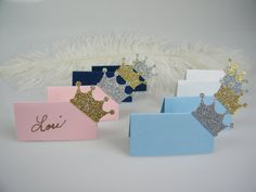 These small, glitter crown place cards / escort cards are ready to be hand written on to mark the place settings of your guests. They are so sweet