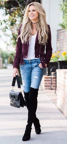 fall outfit idea: marsala jacket + over-the-knee boots