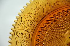 amber glass   Vintage AMBER GLASS Serving PLATE/Mid century Pressed Glass Platter ...