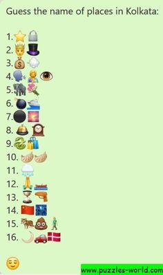 Guess the name of places in Kolkata Emoji Quiz, Emoji Games, 3 Little Birds, Little Fish, Name Of Girls, Emoji Puzzle, Goddess Names, Dare Questions, English Romantic