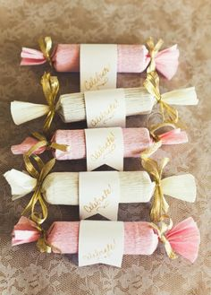 Pink and white favours