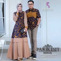 Prom Dresses With Sleeves, Lace Dress With Sleeves, Summer Dress Outfits, Casual Dresses, Batik Long Dress, Dress Batik Kombinasi, Batik Muslim, Outer Batik, Simple Long Dress