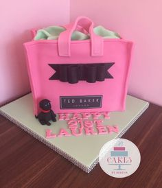 Pink ted baker hand bag cake with big black fondant bow Black Fondant, Fondant Bow, Bag Cake, Big Black, Theme Ideas, Ted Baker, Lunch Box, Birthday Cake, Bows