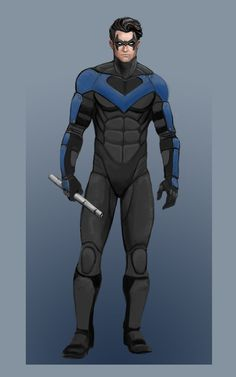Nightwing by ElChocha — Change the blue to red and add the appropriate accents and you'll have the perfect live-action Nightwing suit. Nightwing Cosplay, Nightwing And Batgirl, Batwoman, Superman, Batman Art, Robin Dc, Batman Robin, Dc Costumes, Dc Comics