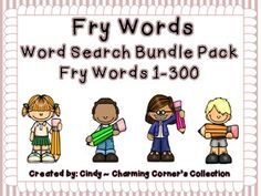 Fry Word Search Bundle Pack Sets 1, 2, 3 contains words 1- 300.  This bundle pack of Fry Word Search Packs will help your students build their reading, spelling, writing and vocabulary fluency. Each pack can be used for small group instruction, literacy centers or even as an enriching activity for your fast finishers. Just print out the handouts and they are ready to be added to your Language Arts.