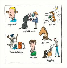 Doggy phrases. @Battersea Dogs & Cats Home greeting card by in house illustrator Jason Chapman.
