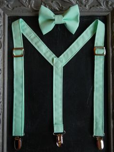 Suspender bow tie set mint green by bearandfoxdesigns on Etsy, $25.00