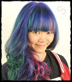 Manic Panic Hair Dye Hair Color Dark, Ombre Hair Color, Hair Color Balayage, Blonde Balayage, Brunette Ombre, Brunette Hair, Dyed Blonde Hair, Blue Hair, Manic Panic Hair Dye