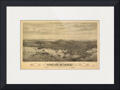 """""""Vintage Map of Seattle Washington """" by Alleycatshirts @Zazzle, Keene // This is a vintage map of Seattle Washington produced in 1878. // Imagekind.com -- Buy stunning fine art prints, framed prints and canvas prints directly from independent working artists and photographers."""