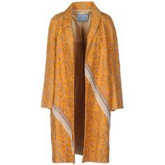 Prada Full-length Jacket (€615) ❤ liked on Polyvore featuring outerwear, jackets, orange, prada jacket, orange jacket, jacquard jacket, full length jacket and long sleeve jacket