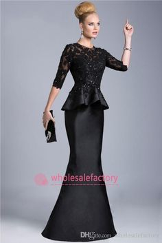 Wholesale 2015 Black Evening Gowns Sheer Crew High Neck Half Long Sleeves Appliques Lace Beaded Peplum Sheath Formal Dresses Vestido Formales 510, $125.65/Piece | DHgate Mobile