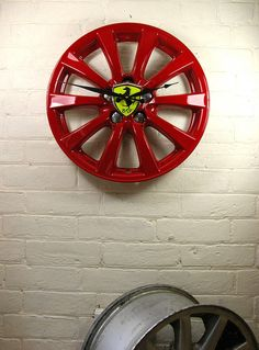 Personalised Real Alloy Wheel Ferrari Clock. What to make some of these for the men in my life cant be that hard to make them .