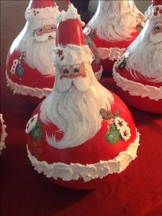 Gourd - Hand Painted Santa by Gail's Creation Santa Ornaments, Lightbulb Ornaments, Lightbulbs, Christmas Love, Rustic Christmas, Christmas Ideas, Christmas Projects, Holiday Crafts, Gourds Birdhouse